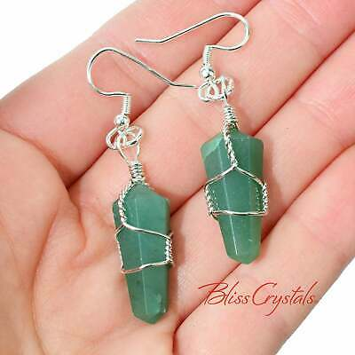 GREEN AVENTURINE polished Point Wire Wrapped EARRINGS #GE11