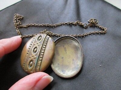 Antique Vintage Victorian Gold Plated Brass Photo Locket & Chain Spares Repairs