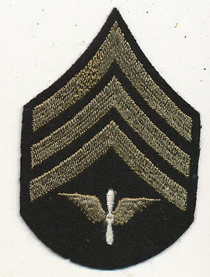 US Army Air Force chevrons patch Sergeant wool felt prop and wing WWII