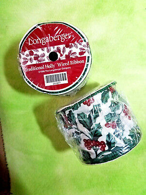 lot 2 Longaberger Wired fabric RIBBON spools 5yd each Traditional Holly 1998 New