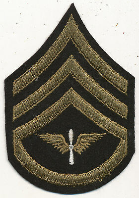 US Army Air Force chevrons patch Staff Sergeant prop and wing wool WWII