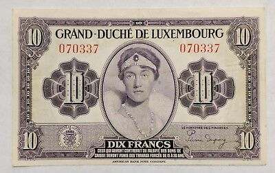 1944 Duchy of Luxembourg P-44a 10 Francs Nice XF Circulated Banknote
