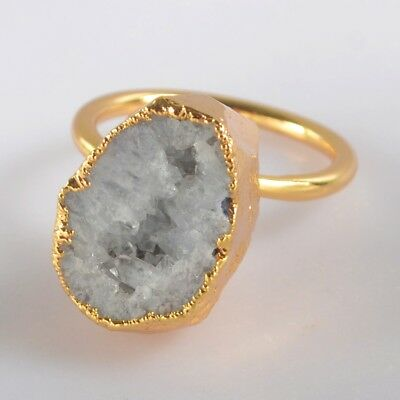 Size 7.5 Natural Agate Druzy Geode Ring Gold Plated B072904