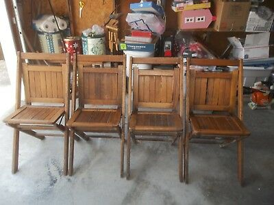 Vintage/Antique Wooden Slat Seat & Back Folding Chairs Lot of 4