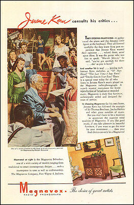 1945 WW2 era AD MAGNAVOX Radio Phonograph Art Jerome Kerns piano 122616