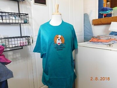New  I Love My  Cavalier King Charles Spaniel Emb.  T-Shirt Add Name For Free