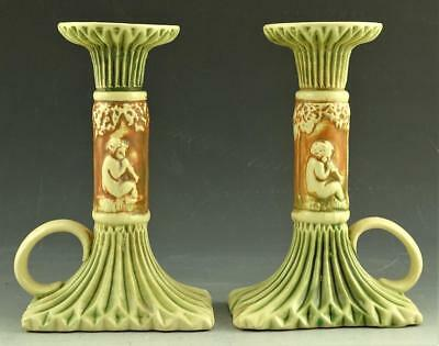 "RARE MATCHED PAIR ROSEVILLE DONATELLO 6 1/4"" CANDLESTICKS W/STICKER c1915 XLNT!"