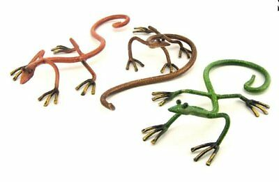 Set of 3 Decorative 10 Inch Metallic Geckos in Multiple Colors
