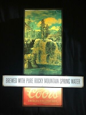 Rare Lighted Coors Motion Waterfall Beer Bar Sign Nice