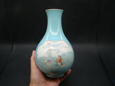 Chinese 19th century nice famille rose vase (Qian Long Mark)  s7481