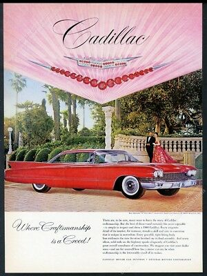 1960 Cadillac Coupe deVille de Ville red car color photo print ad