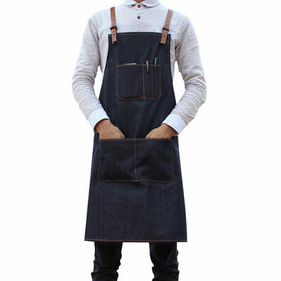 Chef Denim Apron Bib Dress Genuine Leather Adjuatable Strap Pockets Cafe Uniform