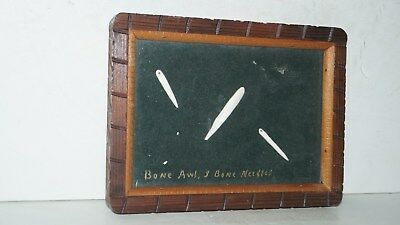 Lot Of 3 Native American Bone Awl & Needles In Framed Hanging Wall Display