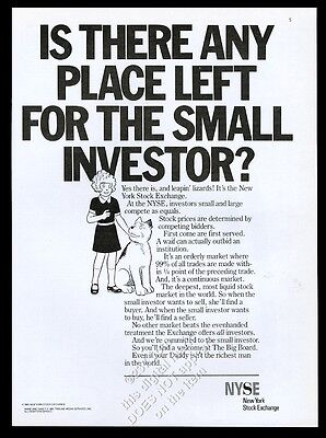 1985 Little Orphan Annie & Sandy art NYSE New York Stock Exchange print ad