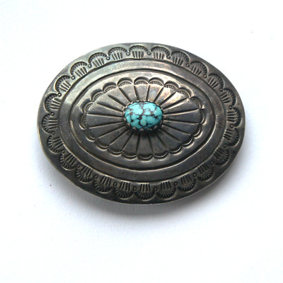 Vtg un signed Navajo Sterling Silver Turquoise Gemstone Concho Belt Buckle