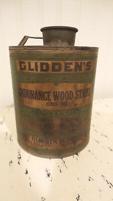 Antique GLIDDEN WOOD STAINS CAN with PAPER LABEL