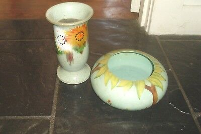 2 Vintage Retro Barsony Era Hand Painted Floral Design Pottery Vases -Lynton