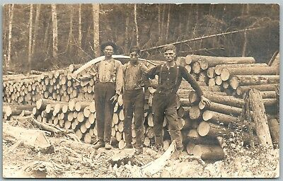 LOGGING WORKERS ANTIQUE REAL PHOTO POSTCARD RPPC occupational