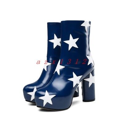 8055b956a5394 Women Round Toe Platform High Block Heel Star Ankle Boot SHoe Leather Party  New