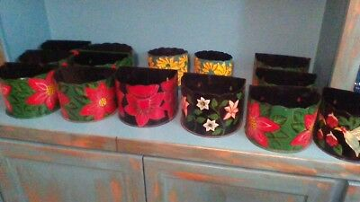 christmas metal painted pot plants hangs on wall or just sets on surface.