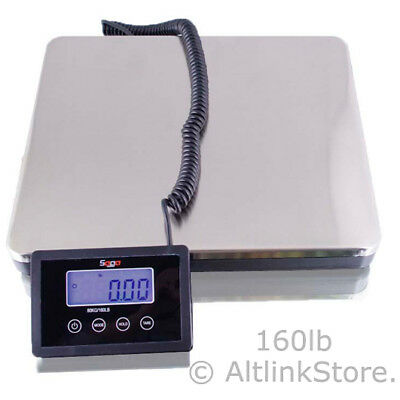 SAGA 160 LB X 0.2lb BATTERY POSTAL SCALE for WEIGHT SHIPPING POSTAGE W/AC 76 KG