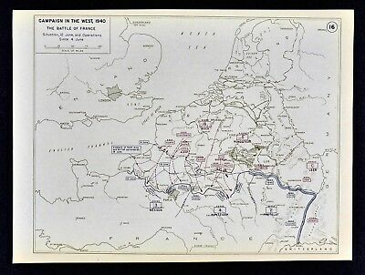 WEST POINT WWII Map - Battle of France German Invasion June 12 1940 ...