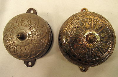Lot  2 ANTIQUE CONNELL'S ORNATE VICTORIAN  DOOR BELL PATENTED APR 28 1874 Bras