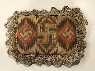 Native American Indian Good Luck Swastika Flame Stitch Fabric Pin Cushion