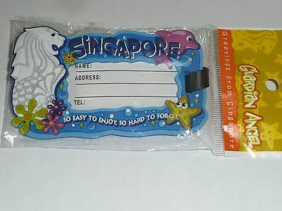 new SINGAPORE luggage TAG ** MERLION - FLOWERS - DOLPHIN **