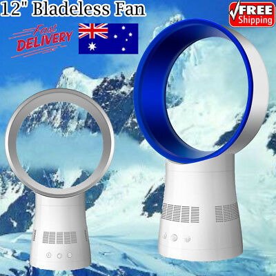"""AU!! 12"""" Bladeless Fan AirFlow Cooling Low db Home Office Air Conditioner Remote"""