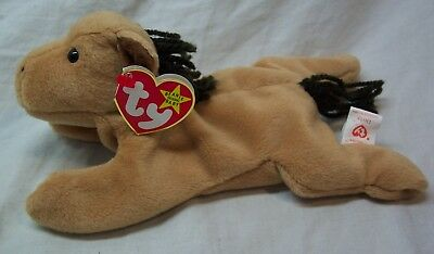 """TY Beanie Baby DERBY THE TAN HORSE 8""""  STUFFED ANIMAL Toy 1995  NEW"""