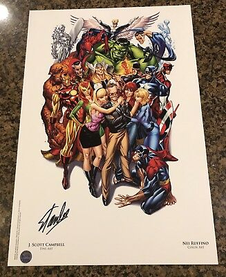Avengers #1 SDCC Heroes Campbell Color Litho Signed by Stan Lee with COA