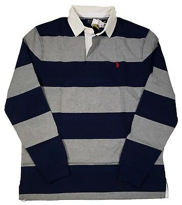 Polo Ralph Lauren Men's Navy Blue/Gray Stripe Rugby Classic Fit Polo Shirt