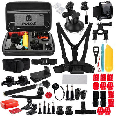 53Pcs Accessories Set Kit For GoPro Hero 2 3 3+ 4 5 Mount Head Chest Strap Pole