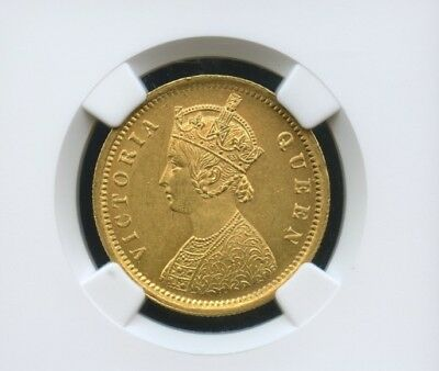 1862 One Mohur Victoria Queen certified pure gold minted coin