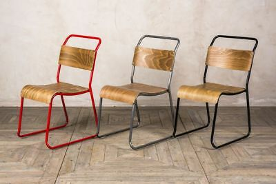 Plywood Stacking Chairs Vintage Style Metal Frame Chairs In Three Colours