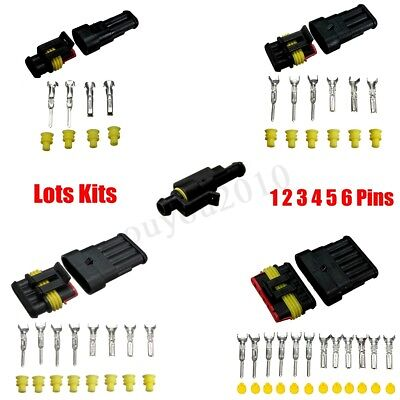 1/2/3/4/5/6 Pins Way Sealed Waterproof Electrical Wire Connector Plug Terminal