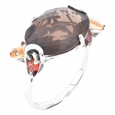 100% Natural 17X13Mm Smoky Quartz Citrine Garnet Sterling Silver 925 Ring Size 8