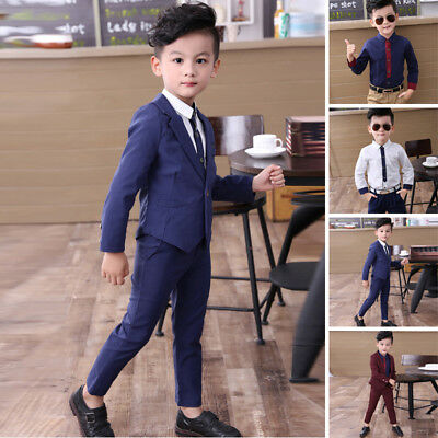 Popular Boy Kids Blazer Formal Suit For Wedding Jackets Blazer+Pant Outfits Hot