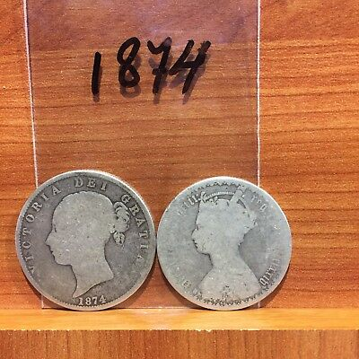 1874 Half Crown and Gothic Florin 2 Shillings Victoria 925 lot of 2 Coins