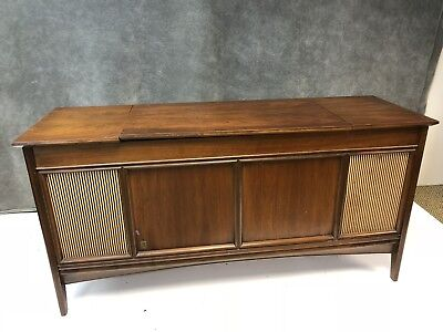 Mid Century Modern Stereo Console Record Player credenza wood cabinet dani 18916