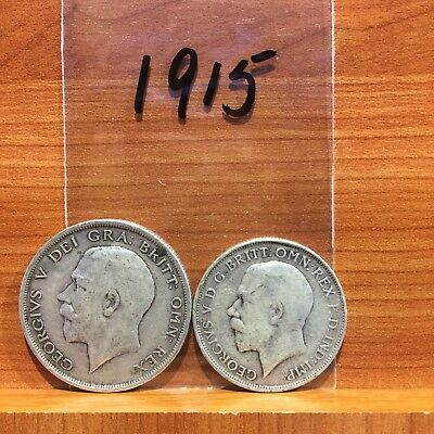 1915 Half Crown and Florin KIng George V British Silver 925 Coins lot of 2