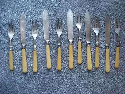 Antique Hallmarked Silver Banded Sheffield Yates Brothers Fish Cutlery