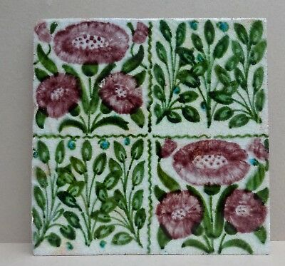 Original Antique William De Morgan Pottery Tile Arts & Crafts Daisy - Chelsea