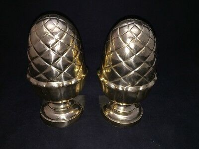 """7"""" Acorn Shaped Brass Bookends-Lacquered-Made In India-Nice Set"""