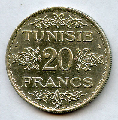 Tunisia 1353 // 1933 Issue 20 Francs Silver Crown Nice Mint Luster Choice Au.
