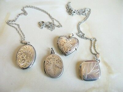 Lot of 4 Vintage Sterling Silver Lockets & 2 Chains
