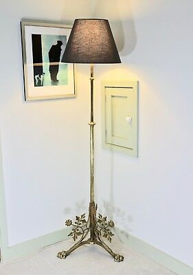 Arts & crafts brass ecclesiastic standard floor oil lamp conversion New shade
