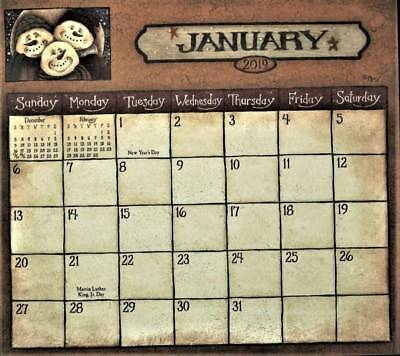 2019 PRIMITIVE COUNTRY  MAGNETIC CALENDAR PAD by DAVID HARDEN FOLK ART ap
