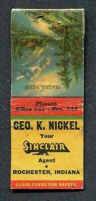 Rochester IN Sinclair Oil  1941 Indiana Game Fish Laws on Matchbook Cover